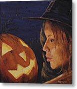 Pumpkin Witch Metal Print