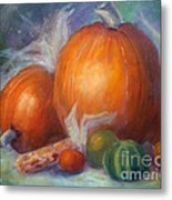 Pumpkins And Corn Metal Print
