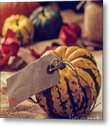 Pumpkins With Label Metal Print