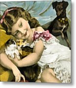Puppies Kittens And Baby Girl Metal Print