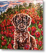 Puppy And Poppies Metal Print