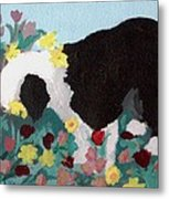 Puppy Stops To Eat The Flowers Metal Print