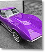 Purple 1968 Corvette C3 From Above Metal Print