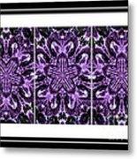 Purple Abstract Flower Garden - Kaleidoscope - Triptych Metal Print