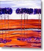 Purple And Blue Trees Abstract Metal Print