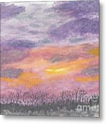 Purple And Gold November Sunset In West Michiganwatercolor Metal Print