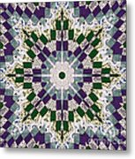 Purple And Green Patchwork Art Metal Print