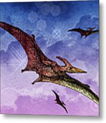 Purple And Green Ptreodactyls Soaring In The Sky Metal Print