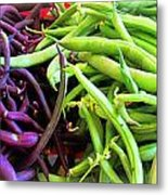 Purple And Green String Beans Metal Print