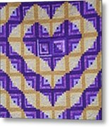 Purple And Yellow Endless Love Log Cabin Quilt Metal Print