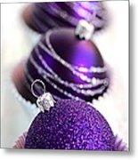 Purple Baubles Metal Print