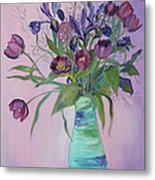 Purple Belle Bouquet  Tulips And Irises Metal Print
