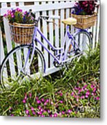 Purple Bicycle And Flowers Metal Print