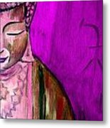 Purple Buddha With Characters Metal Print