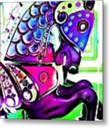 Purple Carousel Horse Metal Print