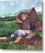 Purple Cow And Barn Metal Print by William Killen