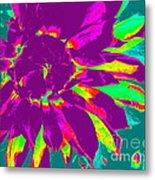 Purple Dahlia Pop Art Metal Print