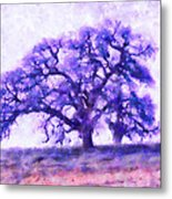 Purple Dreamtime Oak Tree Metal Print