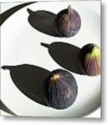 Purple Figs On A White Plate Metal Print