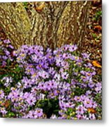Purple Flowers At Base Of Tree Metal Print