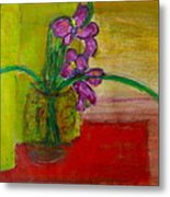 Purple Flowers With Yellow Background Metal Print