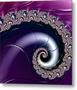 Purple Fractal Spiral For Home Or Office Decor Metal Print
