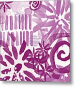 Purple Garden - Contemporary Abstract Watercolor Painting Metal Print