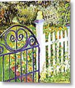 Purple Garden Gate Metal Print