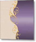 Purple Gold Chevron Metal Print