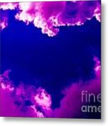 Purple Heart And Pink Clouds Metal Print