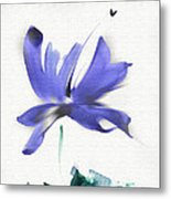 Purple Iris In The Greenery Metal Print