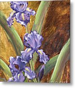 Purple Iris With Gold Leaf By Vic Mastis Metal Print