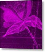 Purple Negative Wood Flower Metal Print