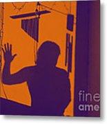 Purple Orange Figure Shadow Metal Print