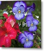 Purple Pansy Flowers By Line Gagne Metal Print