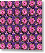 Purple Pink Flower Pattern Decoration Background Designs  And Color Tones N Color Shades Available F Metal Print