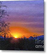 Purple Setting Sun Metal Print