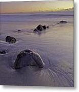 Purple Sunrise Rye Beach Metal Print