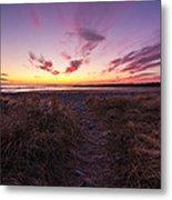 Purple Sunset Sky At The Beach Metal Print