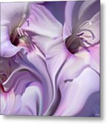 Purple Swirl Abstract Gladiolas  Metal Print by Jennie Marie Schell