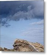 Cala Mesquida Stone Wall Against Rocks With A Stormy Sky Above - Putting Walls To Heaven Metal Print