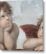 Putti Detail From The Sistine Madonna Metal Print