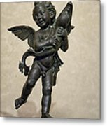 Putto With Dolphin By Verrocchio Metal Print by Melany Sarafis