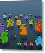 Puzzle Family Metal Print