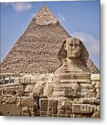 Pyramids And Sphinx In Egypt Metal Print