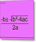 Quadratic Equation Pink-black Metal Print
