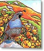 Quail Poppies Metal Print by Nadi Spencer