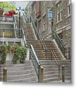 quaint  street scene  photograph THE BREAKNECK STAIRS of QUEBEC CITY   Metal Print