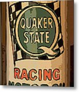 Quaker State Oil Can Metal Print by Carrie Cranwill