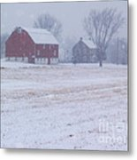 Quakertown Farm On Snowy Day Metal Print by Anna Lisa Yoder